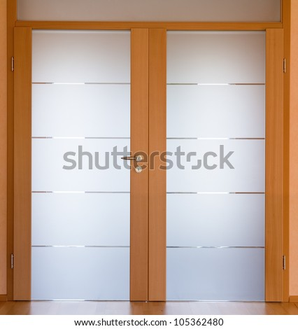 View of a modern living room door,  stitched - original size - stock photo