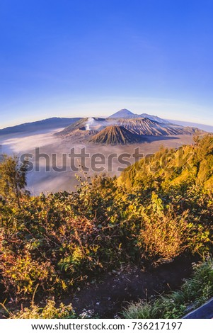 View of a mountain at East Java Indonesia. This active volcano is one of the popular destination in Indonesia