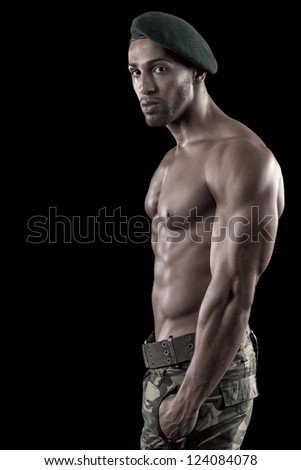 View of a muscled man on a black background in artistic, fitness and bodybuilding poses. - stock photo