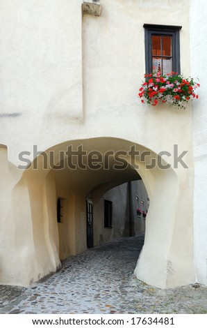 View of a nice building showing an arch placed in Krems, Austria