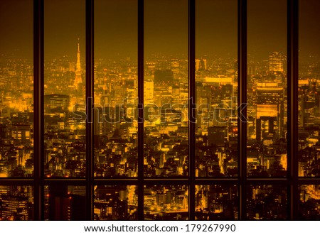 View of a night city - stock photo