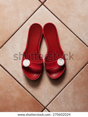 View of a pair of red slippers - stock photo