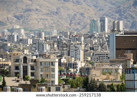 View of a part of Tehran city , capital of Iran