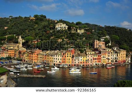 View of a pictoresque port in a sunny day/Portofino view - stock photo