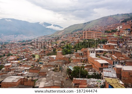 View of a poor neighborhood in the hills above Medellin, Colombia - stock photo
