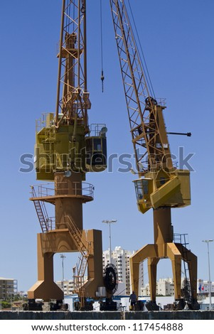 View of a port crane at the docks.