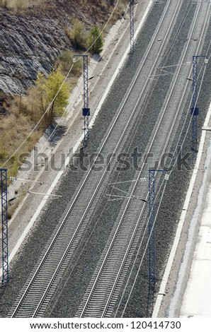 view of a railway line from above