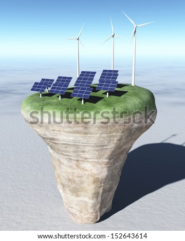 view of a rocky and circular terrain on a desert where are placed on its grassy top, some rows of solar panels and three wind generators behind them, all on a background desert and a clear blue sky - stock photo