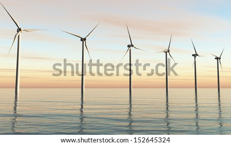 view of a row of a six white wind generators placed on a calm sea, with a orange sky because of the sunset on the background
