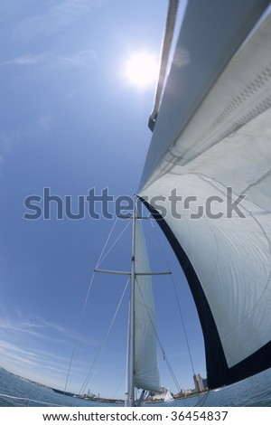 View of a ships mast and sails looking up into the blue sky