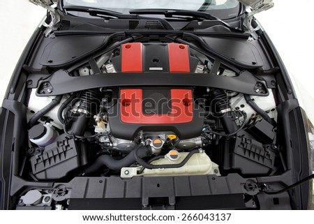 View of a six cylinder powerfully engine of a modern sports car.  Sports Car engine.