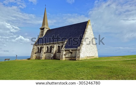 View of a small chapel, Chapelle Notre Dame de la Garde, on the Alabaster Coast at Etretat in Normandy, France - stock photo