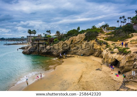 View of a small cove in Corona del Mar, California. - stock photo