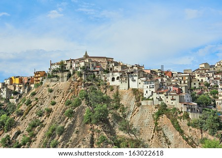 View of a small sicilian town on a hill, Sicily, Italy - stock photo