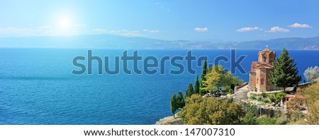 View of a St. Jovan Kaneo church overlooking Ohrid lake, Macedonia on a sunny day - stock photo