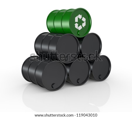view of a stack of black barrels with one green and with the recycling symbol, concept of alternative energy (3d render) - stock photo