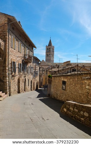 View of a street in Assisi Umbria Italy - stock photo