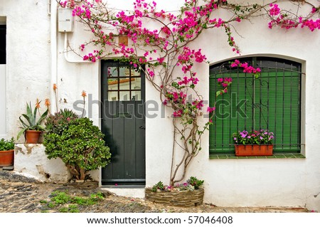 View of a street of Cadaques, Costa Brava, Spain - stock photo