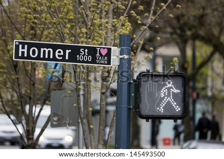 View of a street sign in downtown of Vancouver city, Canada - stock photo