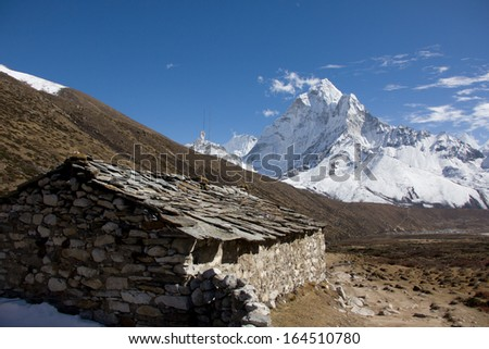 View of a tea house in the himalayas - stock photo