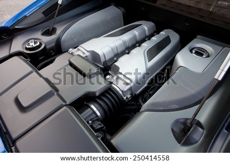 View of a ten cylinder powerful engine or a modern sports car.  Sports car engine.