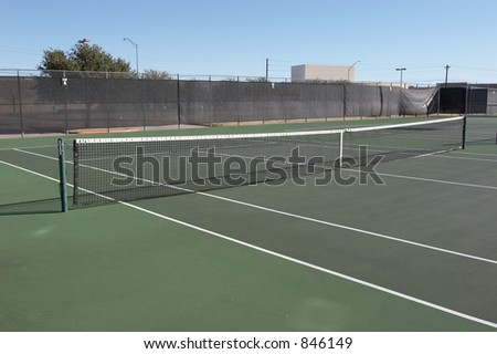 View of a tennis court - stock photo