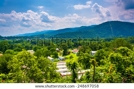 View of a trailer park and mountains near Keyser, West Virginia. - stock photo