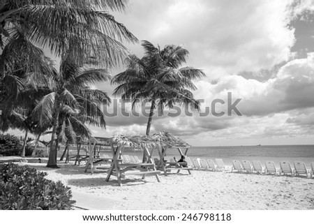 View of a tropical beach in the Carribean. - stock photo