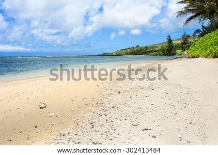 View of a tropical beach with a wide expanse of a rocky and sandy beach - stock photo