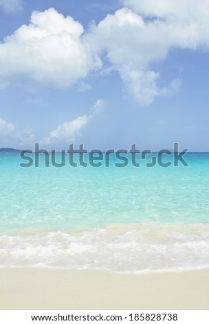 View of a tropical ocean with clear water, vacation in tropics - stock photo