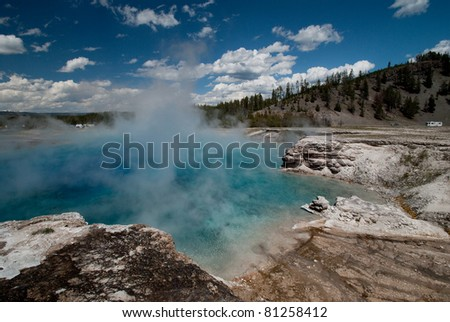 View of a turquoise and blue hot spring pool at Yellowstone National Park - stock photo