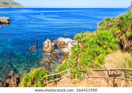 View of a typical coastline of Sicily, Italy - stock photo