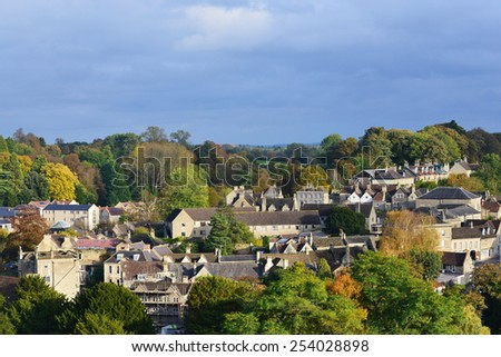 View of a Typical English Town Seen from a High Vantage Point - Namely the Historic Bradford on Avon in Wiltshire England - stock photo