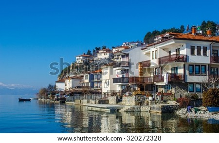 view of a typical houses situated at the edge of ohrid unesco heritage city in fyrom macedonia. - stock photo
