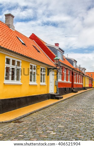 View of a typical street on Bornholm island, Denmark - stock photo