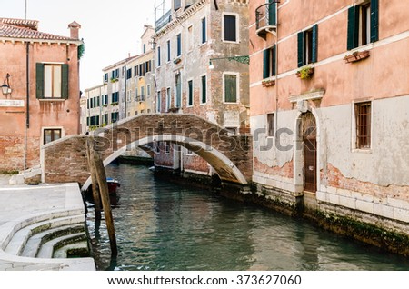 view of a Venetian canal, the old district of Venice without tourists, Italy