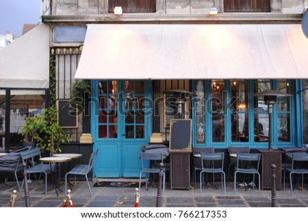View Of A Vintage Style Exterior Small Restaurant In Europe
