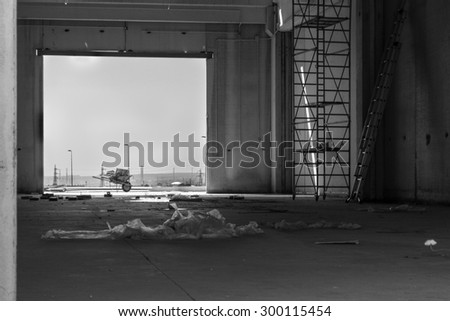 View of a warehouse under construction. - stock photo