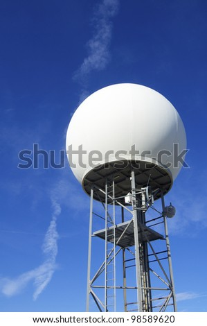 view of a weather station with a large white sphere