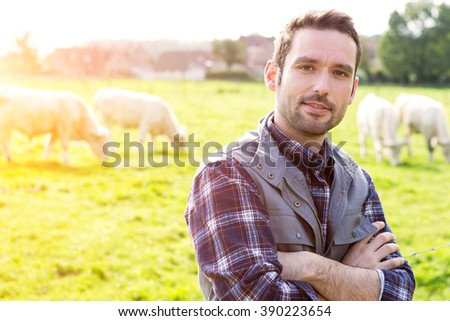 View of a Young attractive farmer in a field with cows - stock photo