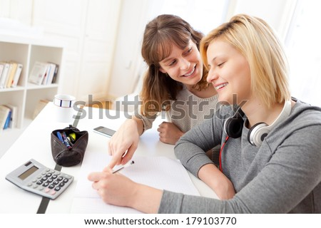 View of a Young teacher assist a student during her homework - stock photo