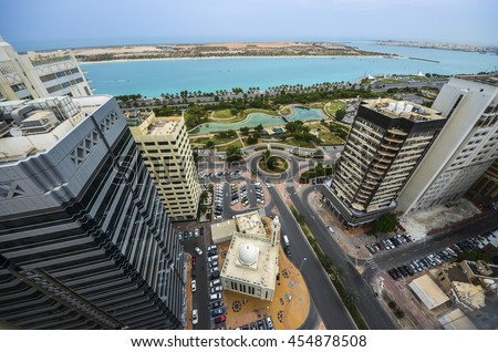 View of Abu Dhabi city, United Arab Emirates by day - stock photo