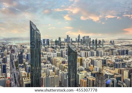 View of Abu Dhabi city, United Arab Emirates by sunset time - stock photo
