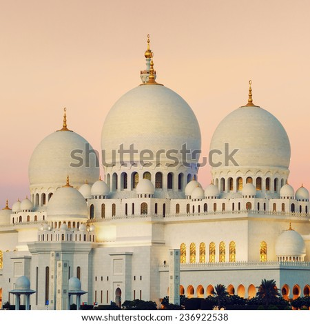 View of Abu Dhabi Sheikh Zayed Mosque at sunset, UAE. - stock photo
