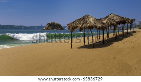 View of Acapulco Bay on a sunny day - stock photo