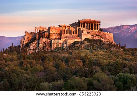 View of Acropolis from the Philopappos Hill in the Evening, Athens, Greece