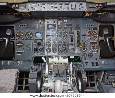 View of aircraft thrust lever in pilot's cabin. - stock photo