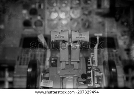 View of aircraft thrust lever. Vintage effect. - stock photo