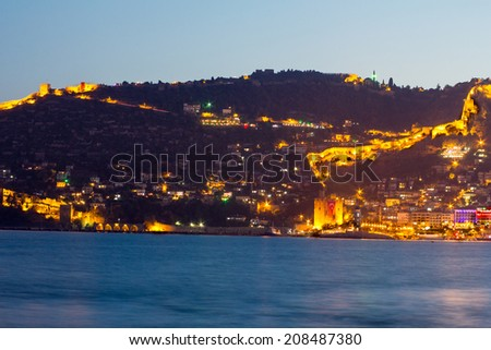View of Alanya harbor. Turkish Riviera by night.  - stock photo