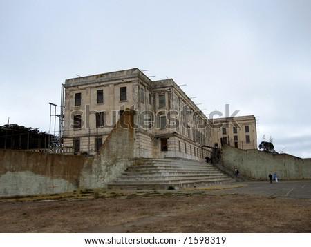 View of Alcatraz from Athletic Yard - stock photo